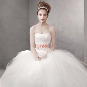 White by Vera Wang Draped Taffeta Wedding Gown
